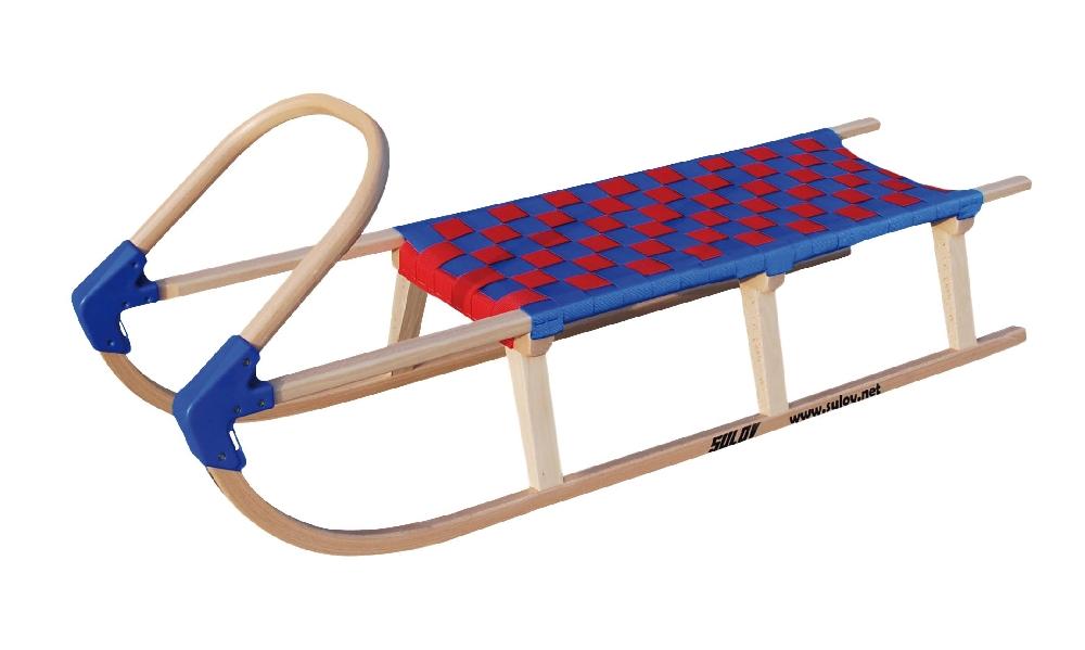 Dřevěné saně SULOV LAVINA, 125cm, modro-červené