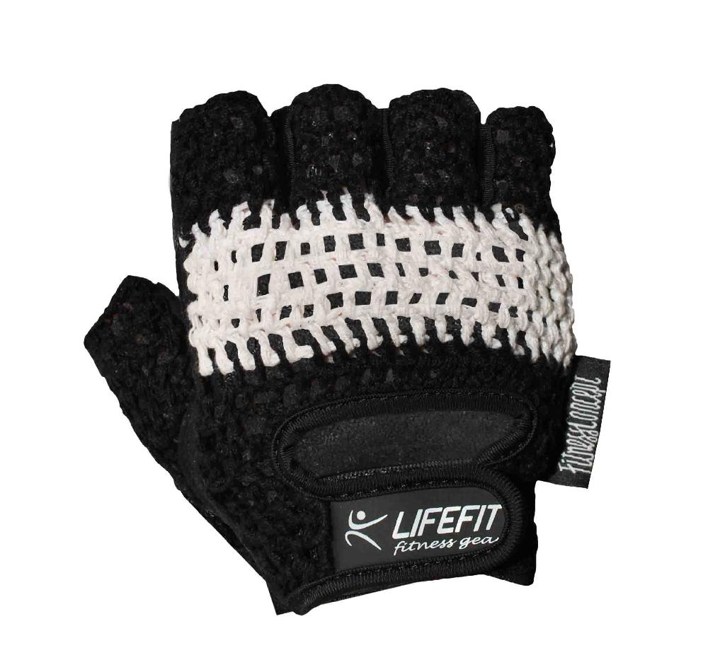 Fitness rukavice LIFEFIT KNIT, černo-bílé