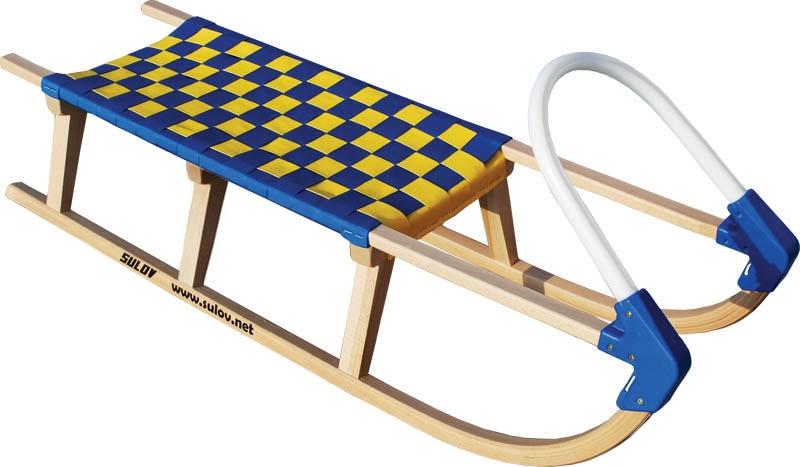 Dřevěné saně SULOV LAVINA, 125cm, plastové madlo, modro-žluté