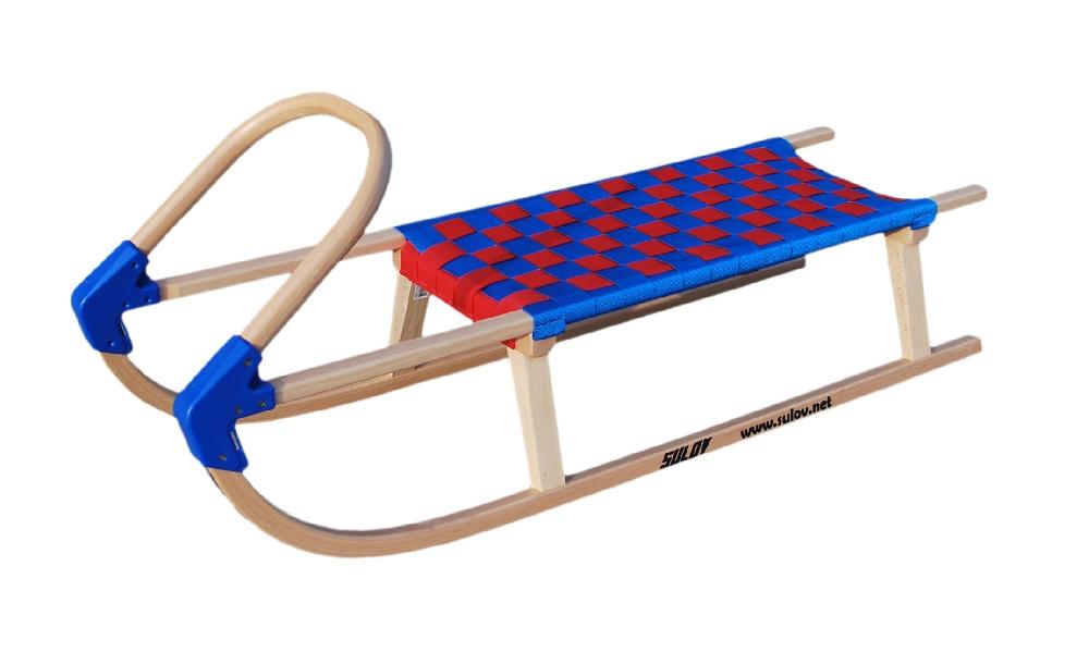 Dřevěné saně SULOV LAVINA, 110cm, modro-červené