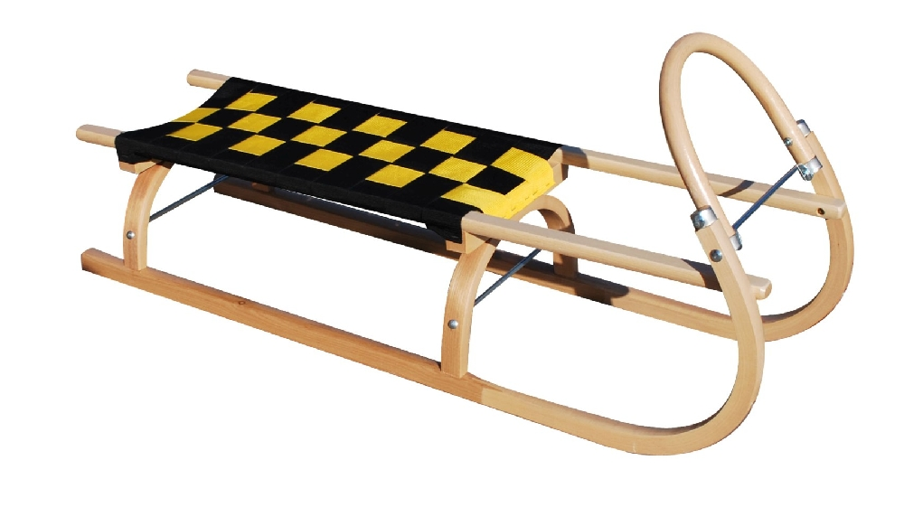 Dřevěné saně SULOV 67, 110cm, černo-žluté