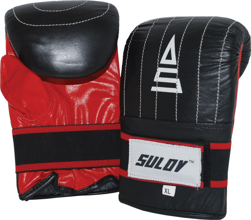 Box rukavice pytlovky SULOV, kožené, černo-červené