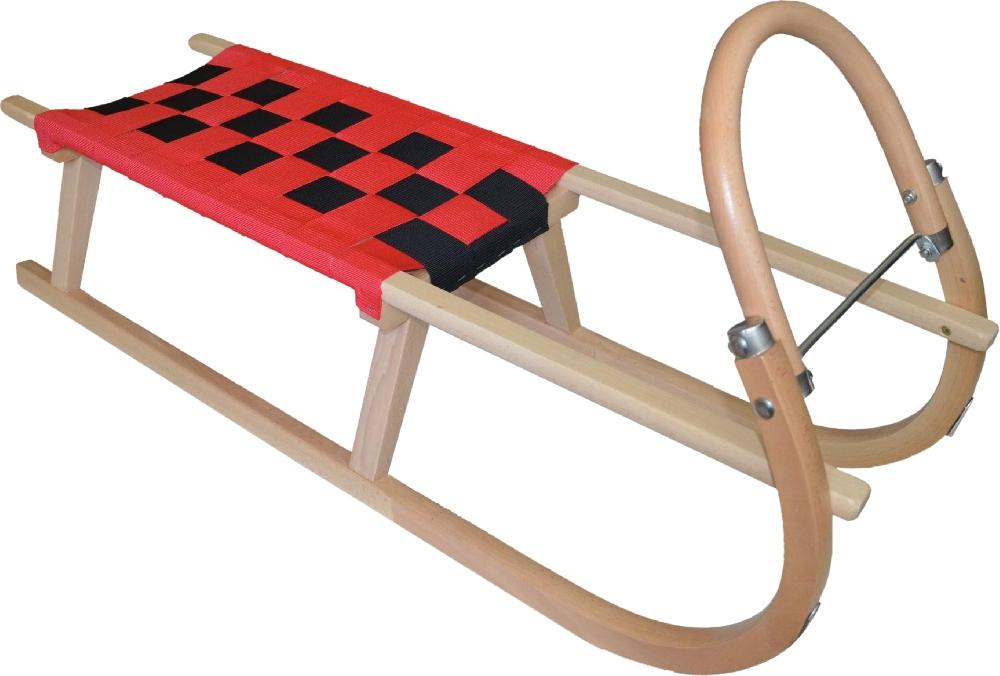 Dřevěné saně SULOV TATRA, 120cm, červeno-černé