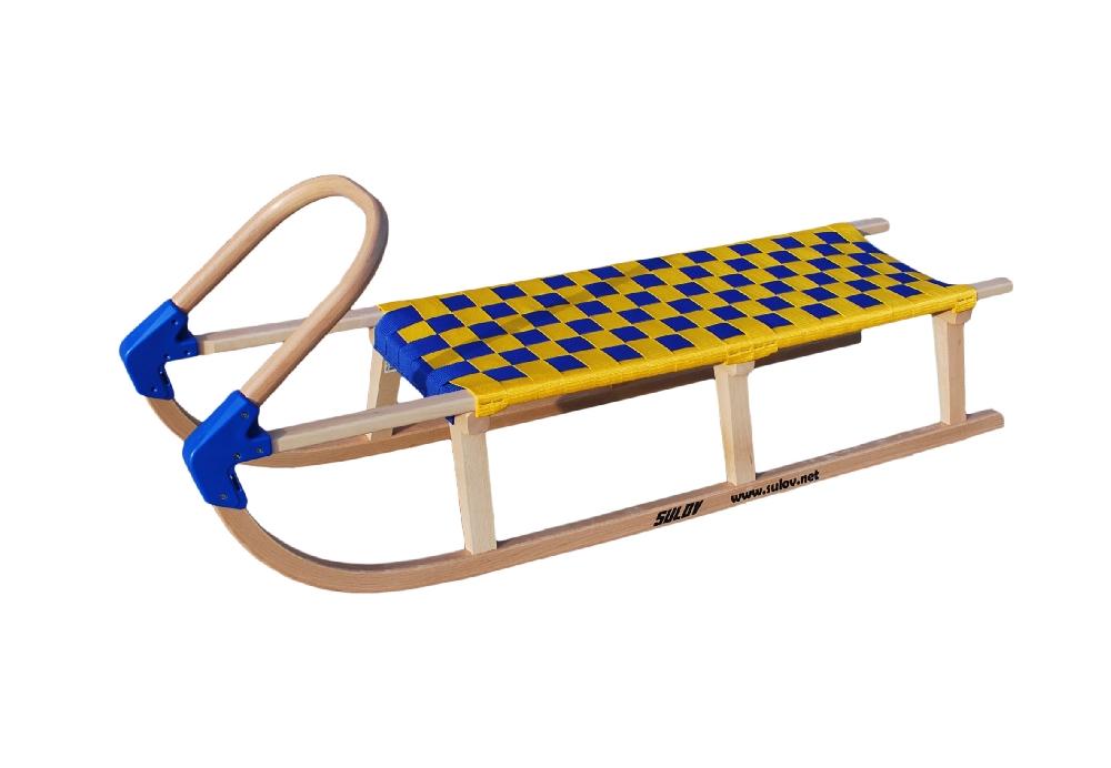 Dřevěné saně SULOV LAVINA, 125cm, modro-žluté