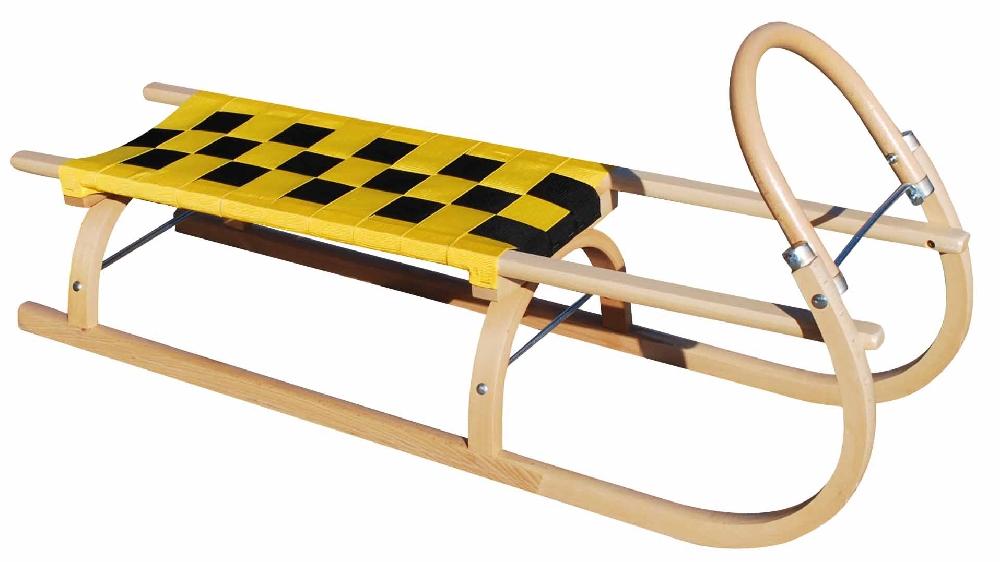 Dřevěné saně SULOV 67, 110cm, žluto-černé