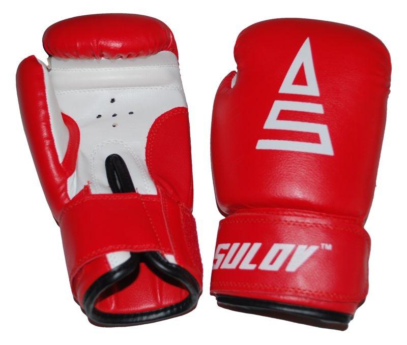 Box rukavice SULOV, PVC, červeno-bílé
