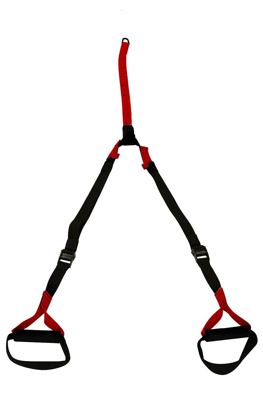 Závěsné posilovací popruhy nastavitelné, černo - červené