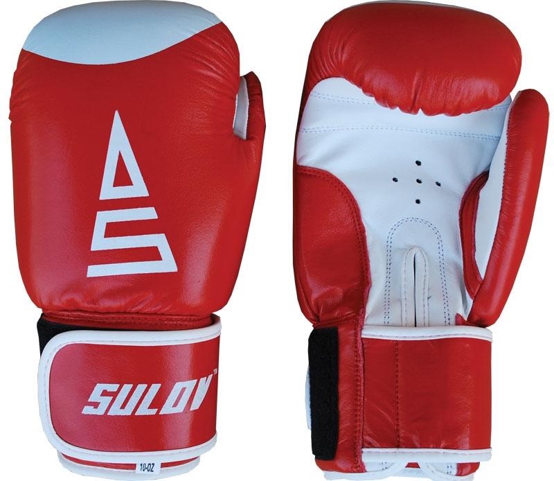 Box rukavice SULOV, kožené, červeno - bílé