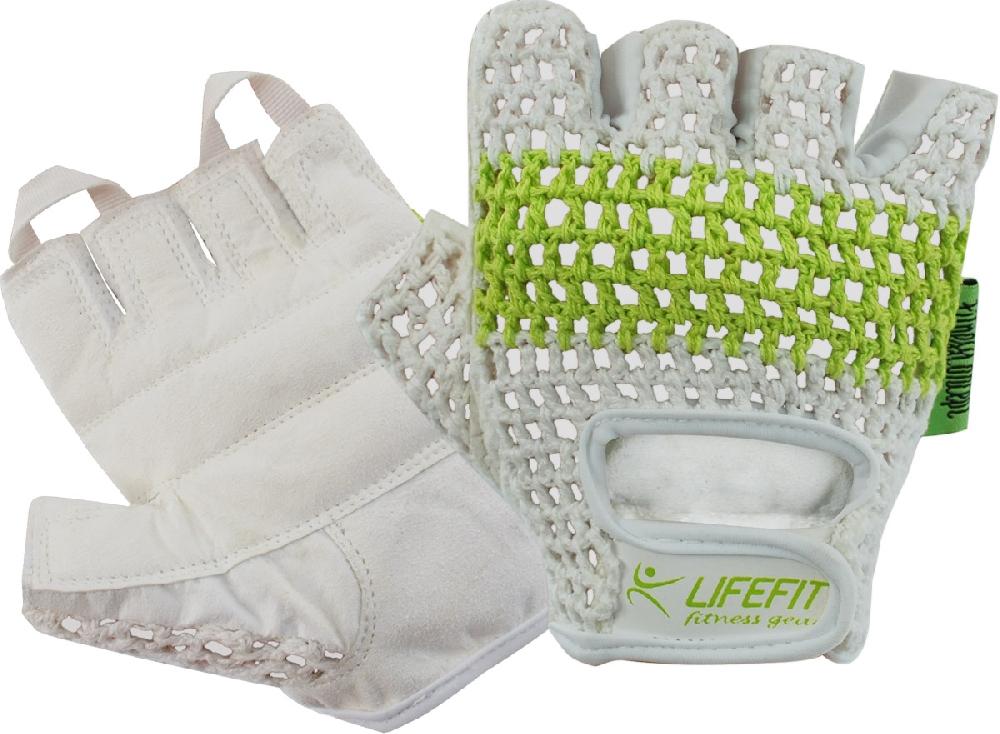 Fitnes rukavice LIFEFIT FIT, bílo-zelené